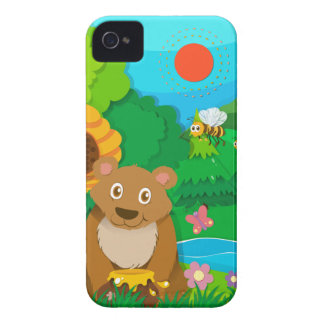 Bear and bees in the forest iPhone 4 case