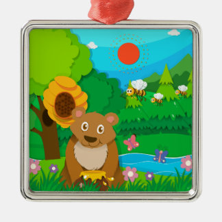 Bear and bees in the forest metal ornament
