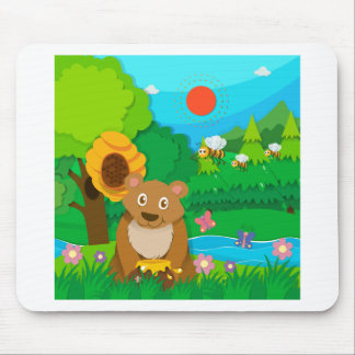 Bear and bees in the forest mouse pad