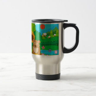 Bear and bees in the forest travel mug