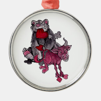 Bear and Bull Metal Ornament