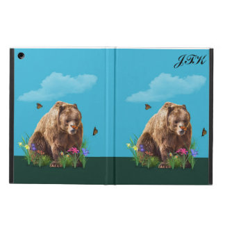 Bear and Butterflies, Customizable Monogram Cover For iPad Air