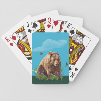 Bear and Butterflies Fantasy  Customizable Deck Of Cards