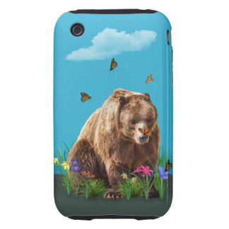Bear and Butterflies Fantasy Tough iPhone 3 Cases