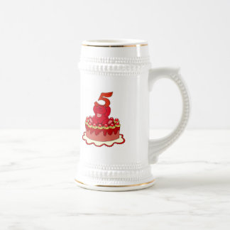 Bear and Cake 5th Birthday Gifts Beer Stein