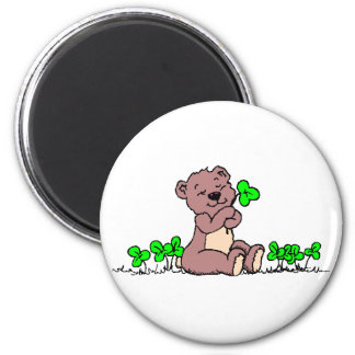 Bear And Clover! 2 Inch Round Magnet
