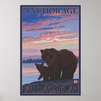 Bear and Cub - Anchorage, Alaska Poster