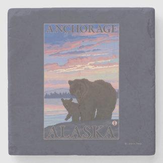 Bear and Cub - Anchorage, Alaska Stone Coaster