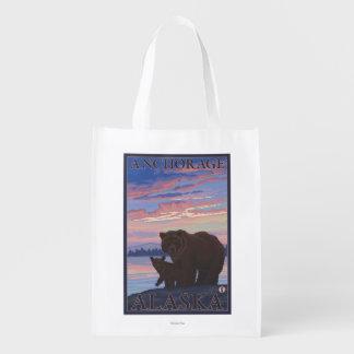 Bear and Cub - Anchorage, Alaska Reusable Grocery Bags