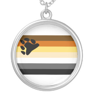Bear and Cub Community LGBT Gay Pride Flag Silver Plated Necklace