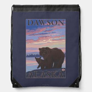 Bear and Cub - Dawson, Alaska Drawstring Bag