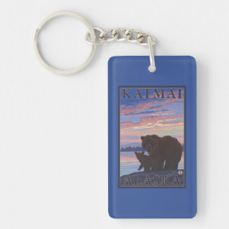 Bear and Cub - Katmai, Alaska Double-Sided Rectangular Acrylic Keychain