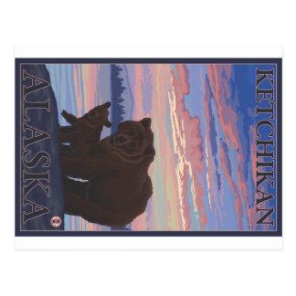 Bear and Cub - Ketchikan, Alaska Postcard