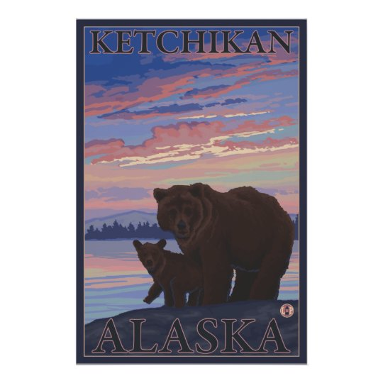 Bear and Cub - Ketchikan, Alaska Poster