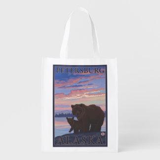 Bear and Cub - Petersburg, Alaska Grocery Bag