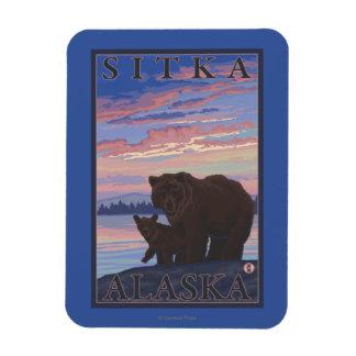 Bear and Cub - Sitka, Alaska Rectangular Photo Magnet