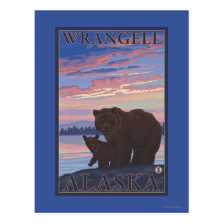 Bear and Cub - Wrangell, Alaska Postcard