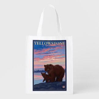 Bear and Cub - Yellowstone National Park Reusable Grocery Bag