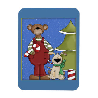 Bear and dog with candy cane and tree magnet