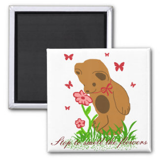 Bear and flowers, Stop to smell the flowers magnet
