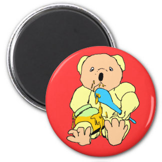 Bear and honey jar cartoon. Yellow, red, pink,blue 2 Inch Round Magnet