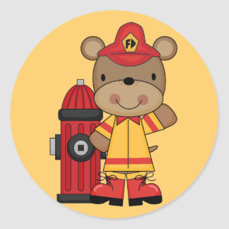 Bear and Hydrant Firefighter T-shirts and Gifts Classic Round Sticker