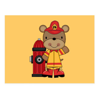 Bear and Hydrant Firefighter T-shirts and Gifts Postcard