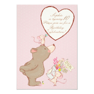 Bear and Mouse Children Birthday Invitation