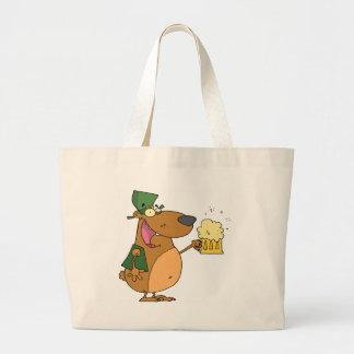 Bear and Mug of Beer Large Tote Bag