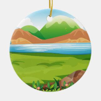 Bear and ocean ceramic ornament