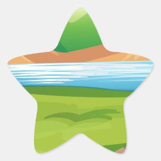 Bear and ocean star sticker