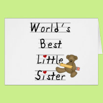 Bear and Pencil Best Little Sister Card