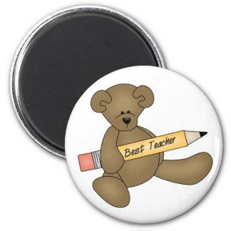 Bear and Pencil Best Teacher 2 Inch Round Magnet