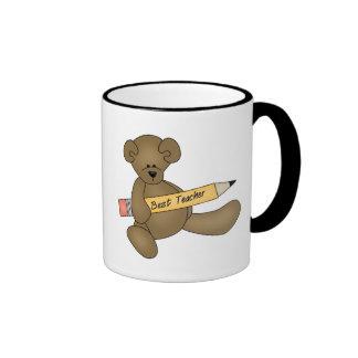 Bear and Pencil Best Teacher Ringer Mug