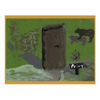 Bear and Privy Postcard