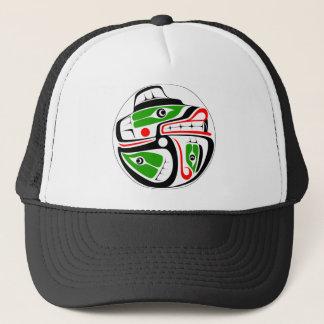 Bear and Salmon Design Trucker Hat