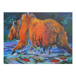 bear and salmon poster