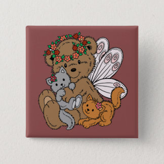 Bear Angel with Kittens Button