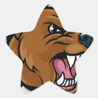 Bear Angry Mascot Background Breakthrough Star Sticker