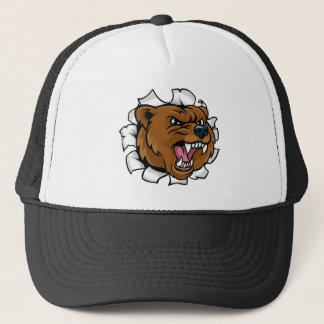 Bear Angry Mascot Background Breakthrough Trucker Hat