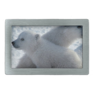 Bear Arctic Weather Winter Cute Twins Cubs Rectangular Belt Buckle