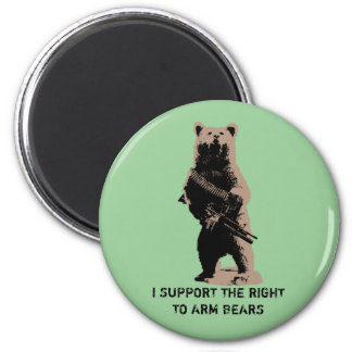 Bear arms Grizzly Bear 2 Inch Round Magnet