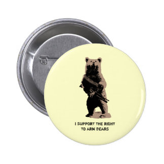 Bear arms Grizzly Bear Button