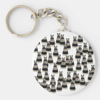 Bear Army Basic Round Button Keychain