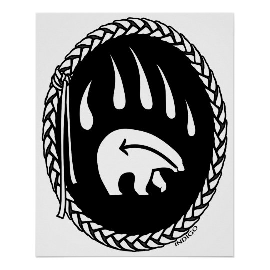 Bear Art Poster Print Tribal Wildlife Decor Poster