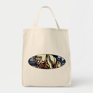 Bear Art Tote Bag Tribal Wildlife Art Shopping Bag