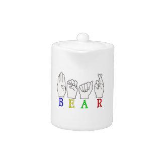BEAR ASL FINGERSPELLED NAME SIGN TEAPOT