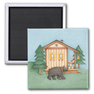 Bear at Cabin 2 Inch Square Magnet
