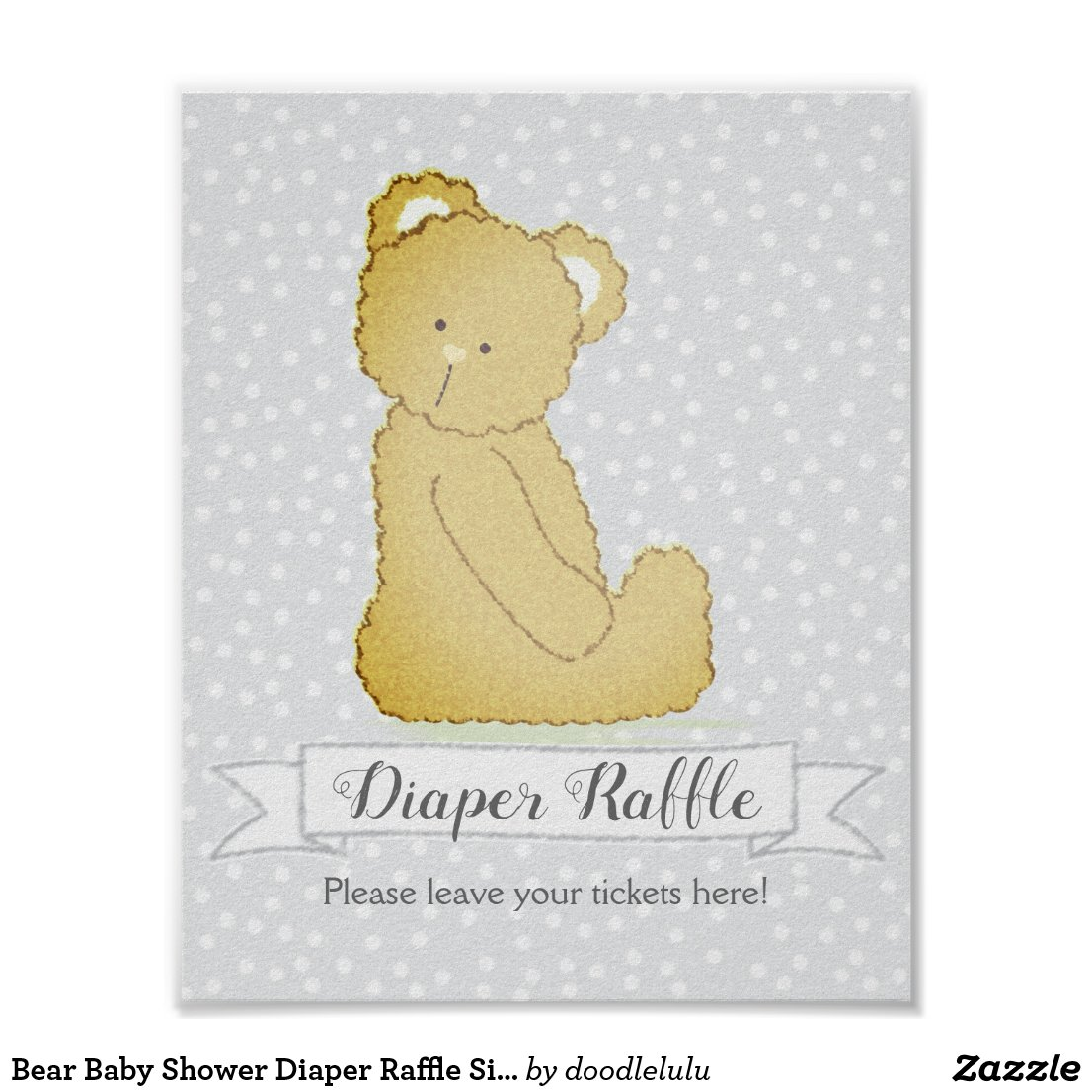 Bear Baby Shower Diaper Raffle Sign gray and brown