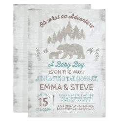 Bear Baby Shower Invitation Boy Adventure Shower